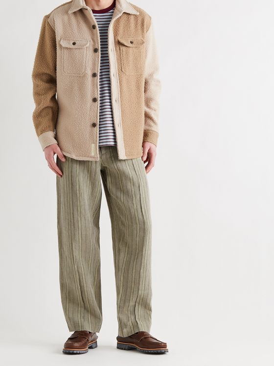 NICHOLAS DALEY Wide-Leg Striped Linen Trousers