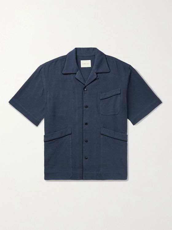 Nicholas Daley Beach Camp-Collar Piped Textured-Cotton Shirt