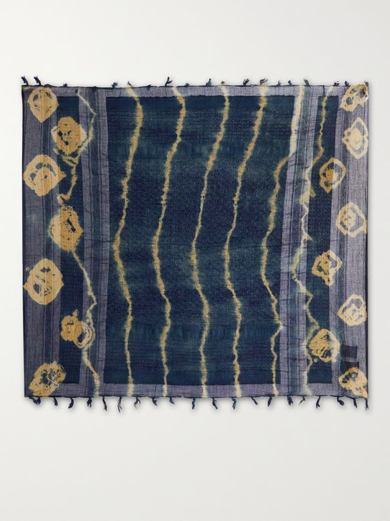 NICHOLAS DALEY Fringed Tie-Dyed Cotton Scarf