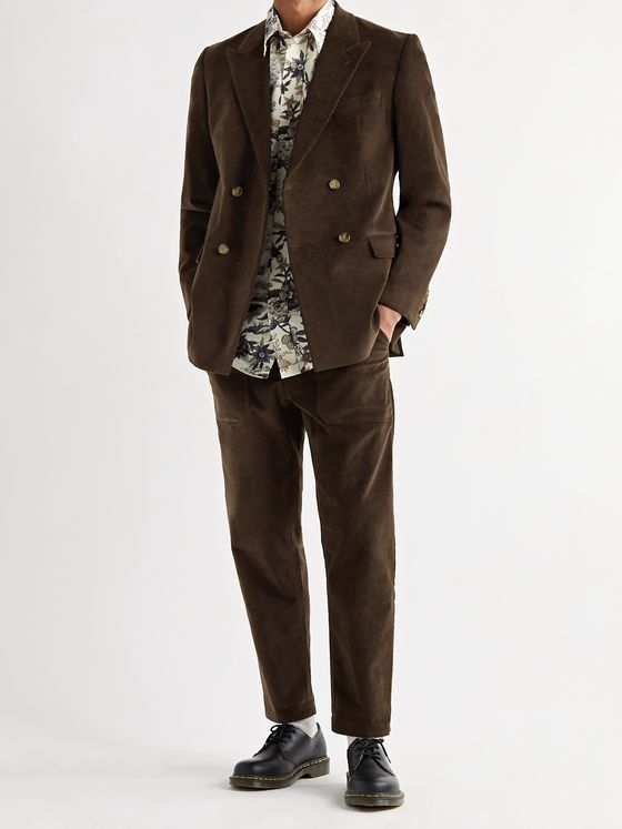 NANUSHKA Malvin Double-Breasted Cotton-Blend Corduroy Suit Jacket