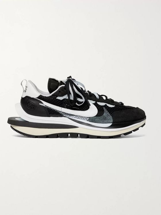 NIKE + Sacai Vaporwaffle Mesh, Leather and Suede Sneakers