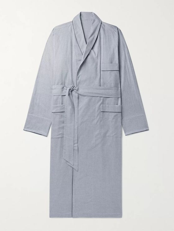 Anderson & Sheppard Piped Puppytooth Cotton Robe