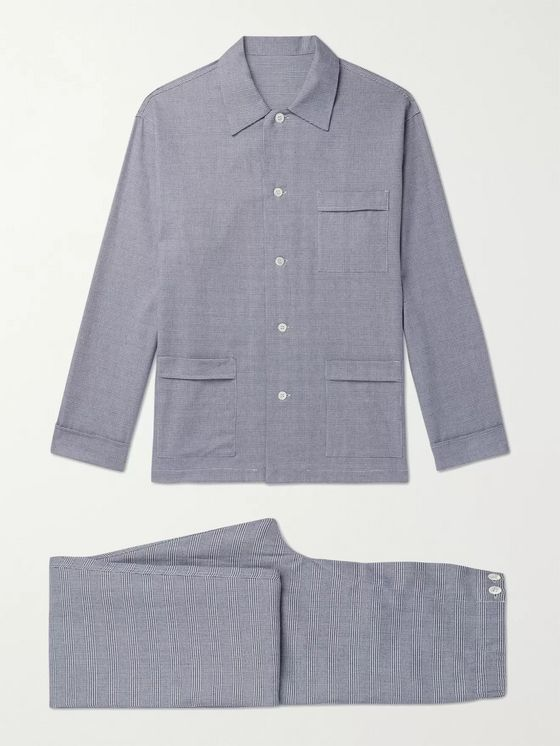 Anderson & Sheppard Prince of Wales Checked Cotton Pyjama Set