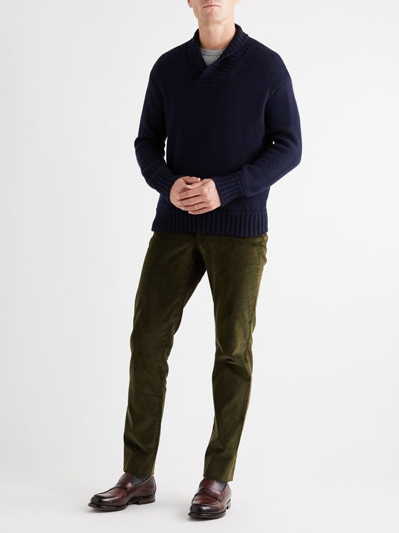 ANDERSON & SHEPPARD Slim-Fit Shawl-Collar Cashmere Sweater