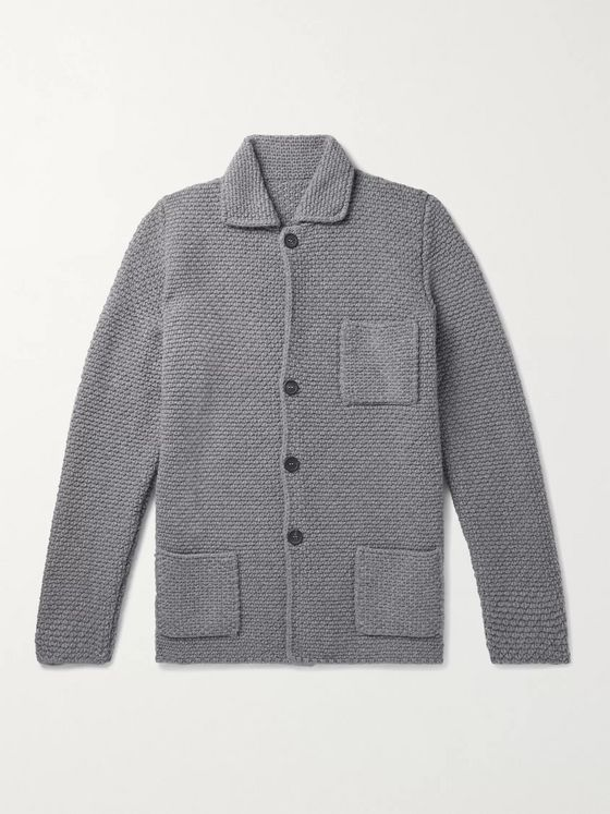 Anderson & Sheppard Slim-Fit Waffle-Knit Merino Wool and Cashmere-Blend Cardigan