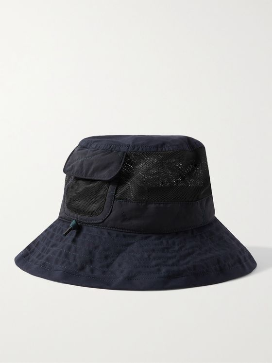 NICHOLAS DALEY + Lavenham Waxed Cotton and Mesh Bucket Hat
