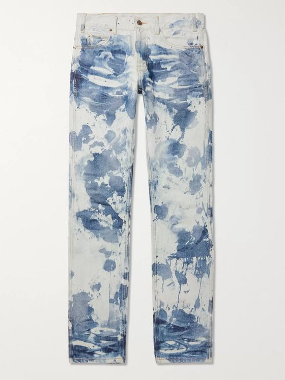 CELINE HOMME Slim-Fit Low-Rise Bleached Camouflage Denim Jeans