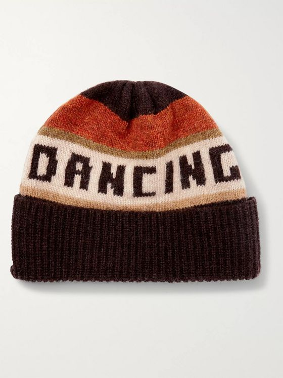 CELINE HOMME The Dancing Kid Striped Wool-Jacquard Beanie