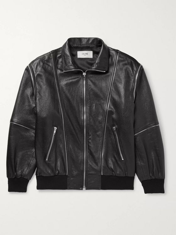 CELINE HOMME Detachable-Sleeve Lambskin Leather Jacket