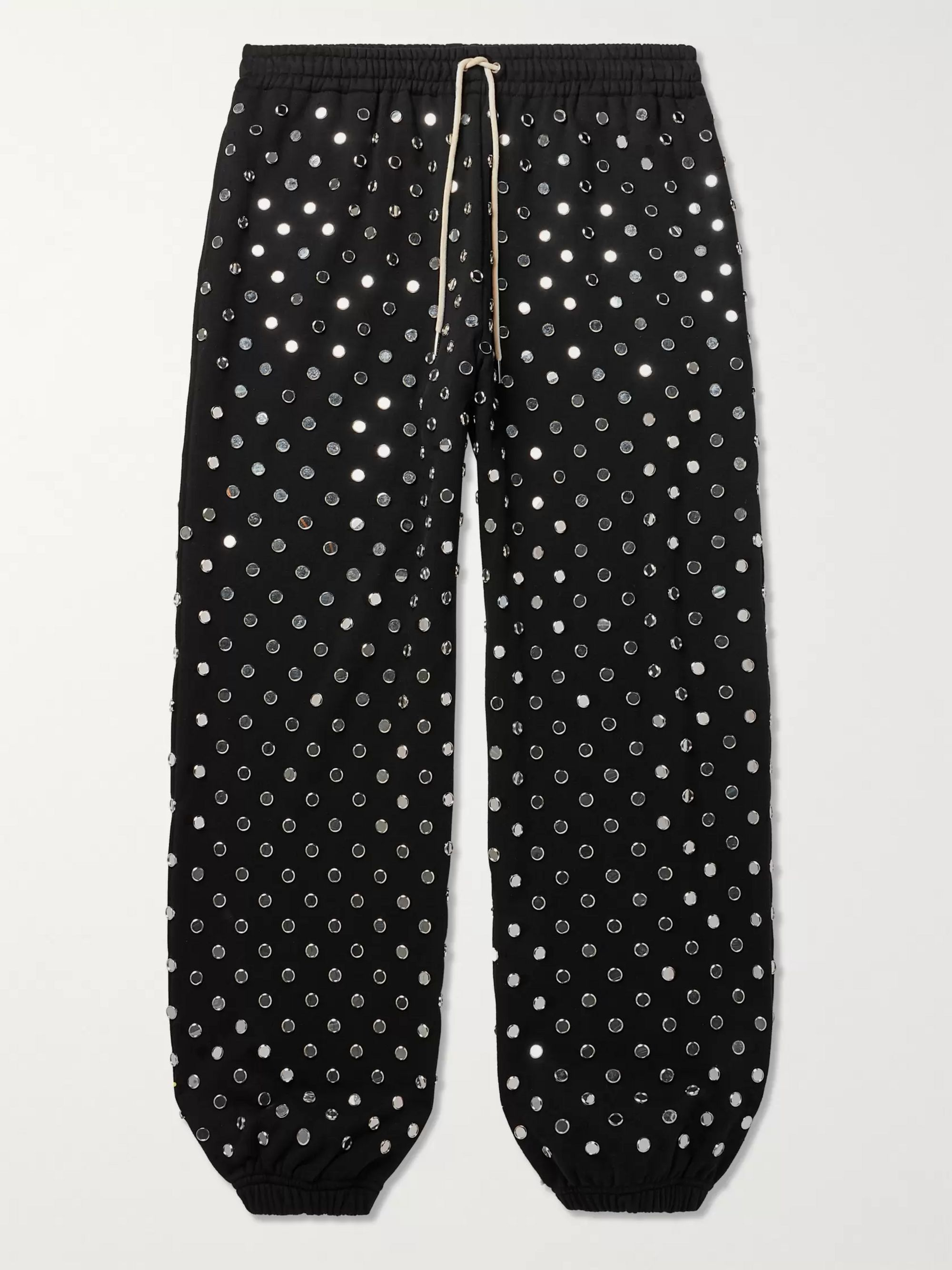 CELINE HOMME Tapered Mirror-Studded Loopback Cotton-Jersey Sweatpants