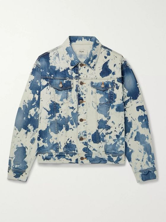 CELINE HOMME Loose-Fit Bleached Camouflage Denim Trucker Jacket