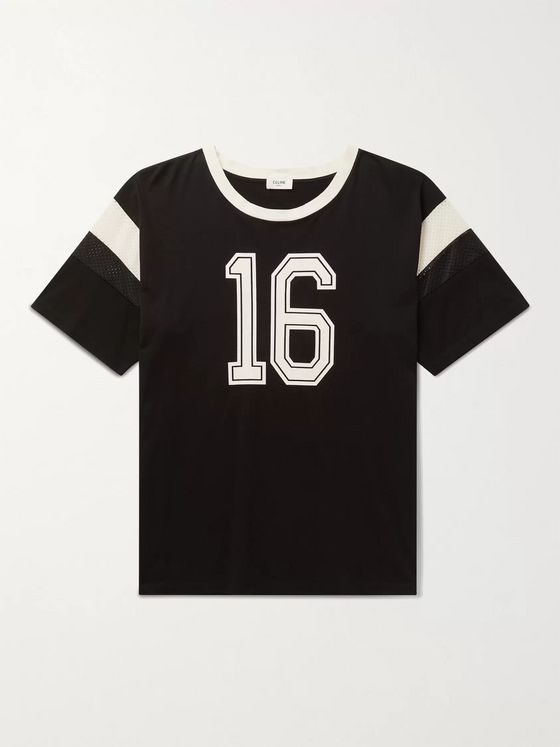 CELINE HOMME Celine 16 Mesh-Panelled Screen-Printed Cotton-Jersey T-Shirt