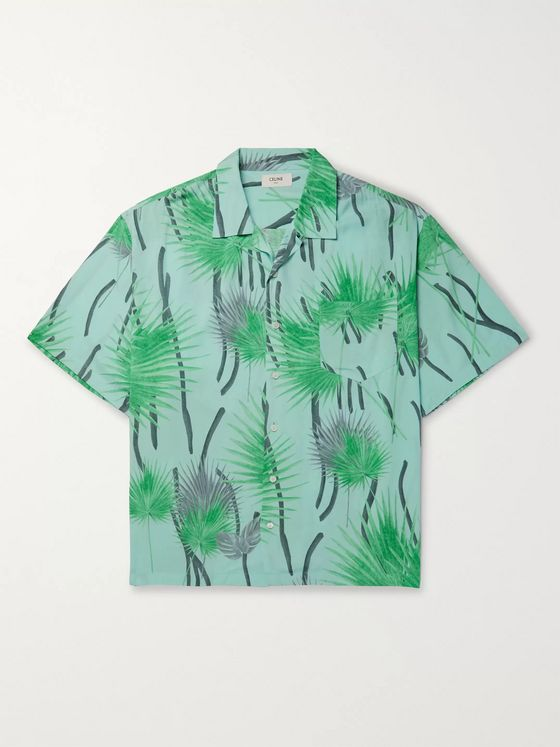 CELINE HOMME Camp-Collar Hawaiian Palm Tree-Printed Viscose Shirt