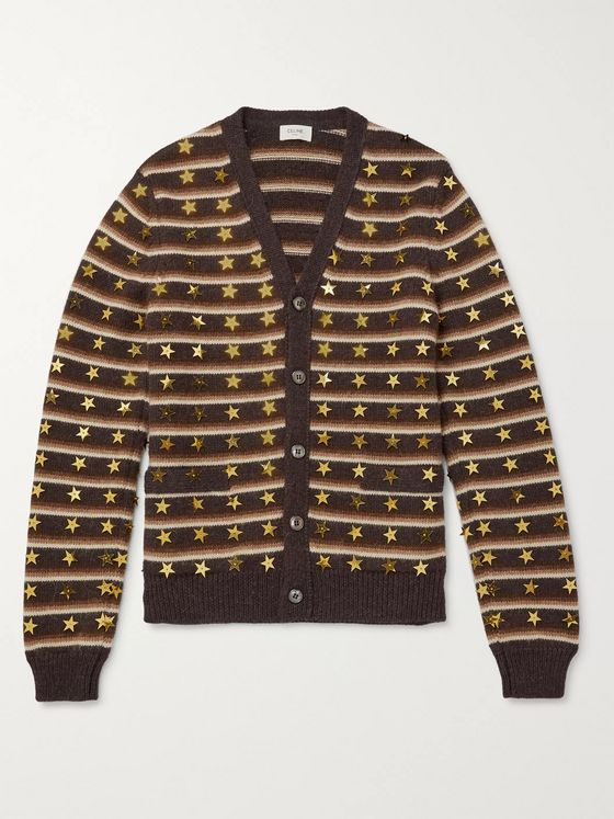 CELINE HOMME Star-Embroidered Striped Wool and Alpaca Wool-Blend Cardigan