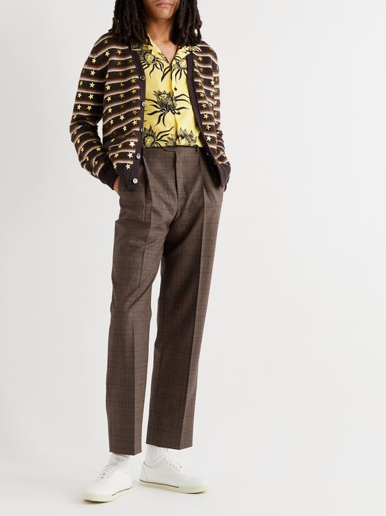 CELINE HOMME Pleated Prince of Wales Checked Wool Skate Pants