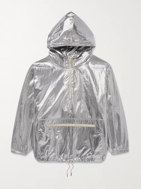 CELINE HOMME Oversized Logo-Print Metallic Shell Windbreaker