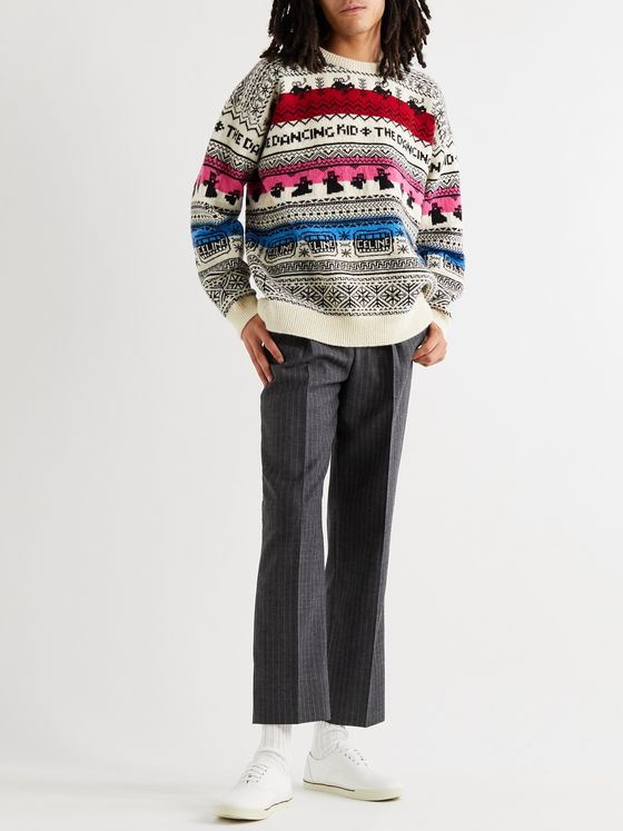 CELINE HOMME Fair Isle Wool-Jacquard Sweater