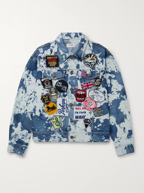 CELINE HOMME Loose-Fit Studded Bleached Camouflage Denim Trucker Jacket