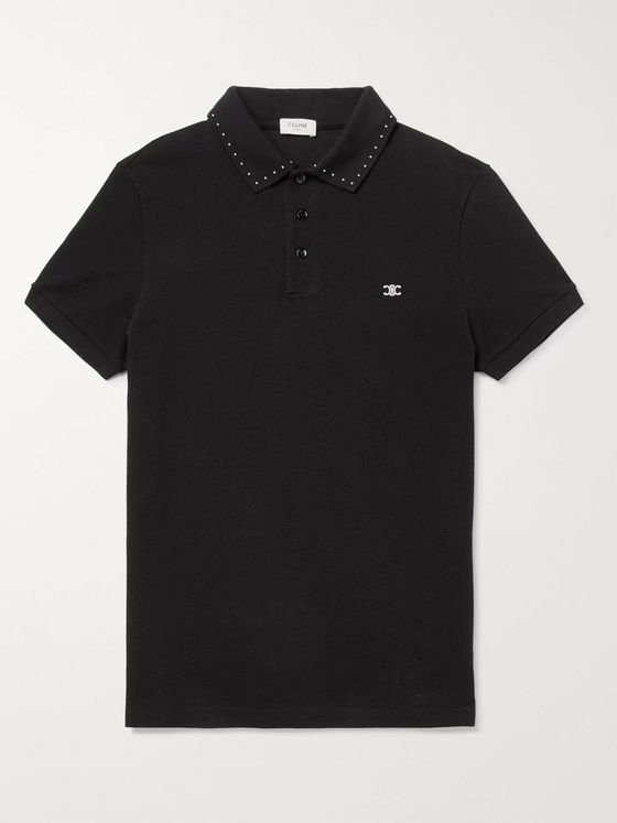 CELINE HOMME Triomphe Embroidered Studded Cotton-Piqué Polo Shirt