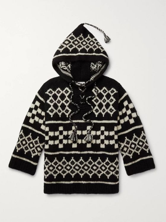 CELINE HOMME Baja Wool-Blend Jacquard Hooded Sweater