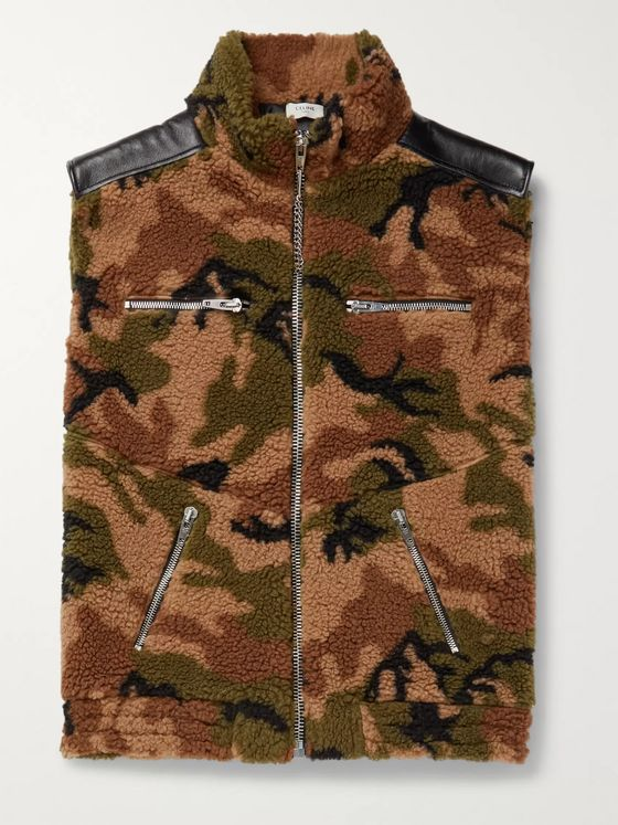 CELINE HOMME Oversized Multi-Zippered Leather-Trimmed Camouflage Fleece Gilet