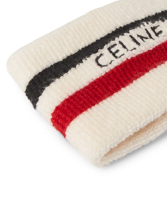 CELINE HOMME Embroidered Cotton-Blend Terry Tennis Wristband