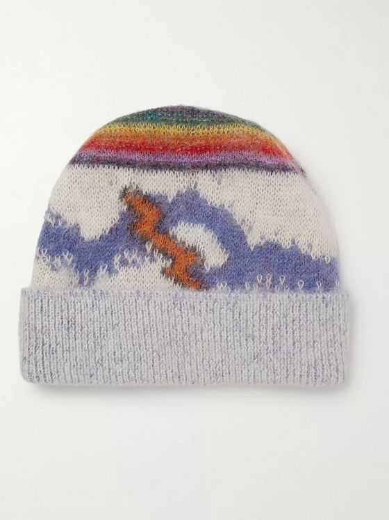 CELINE HOMME Rainbow Brushed Mohair-Blend Beanie