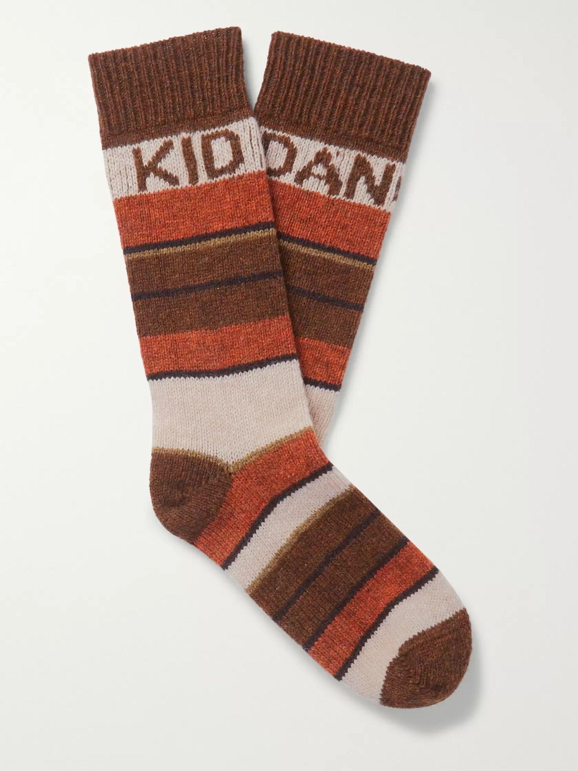 셀린느 옴므 댄싱 키즈 스트라이프 양말 CELINE HOMME The Dancing Kid Striped Wool-Jacquard Socks,Brown