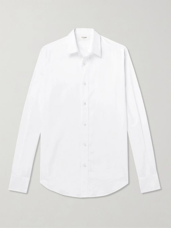 CELINE HOMME C-Embroidered Cotton-Poplin Shirt