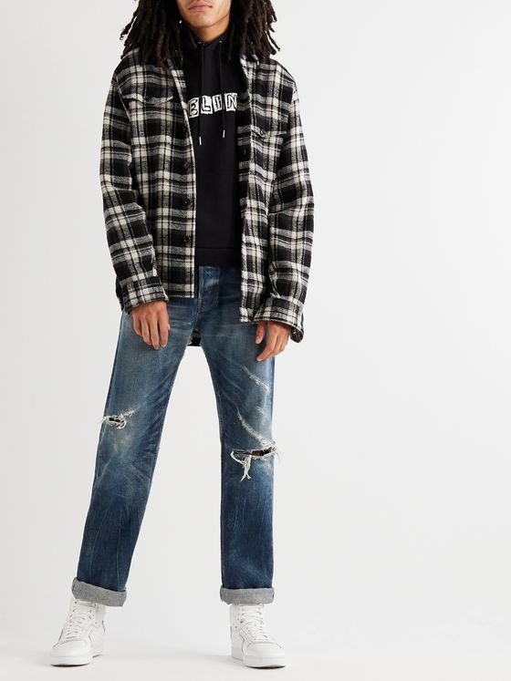 CELINE HOMME Checked Cotton-Flannel Shirt