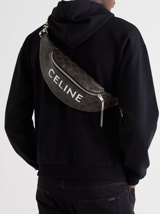CELINE HOMME Triomphe Celine-Print Coated-Canvas and Nylon Belt Bag