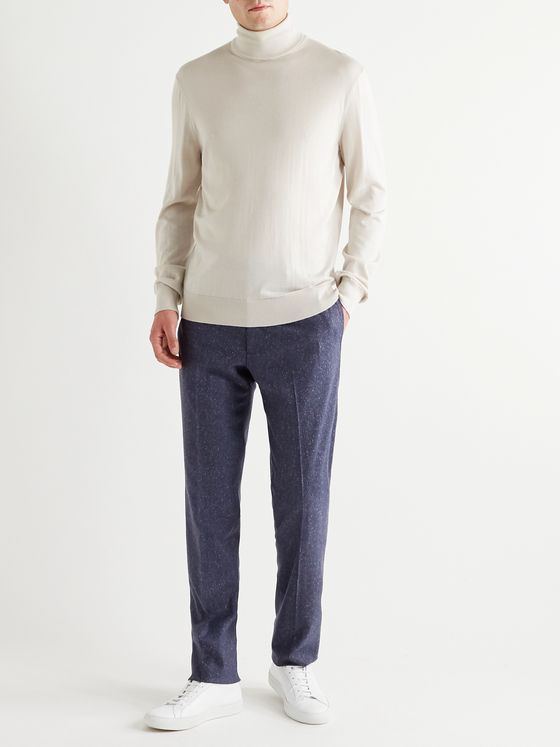 Gabriela Hearst Ernest Slim-Fit Flecked Stretch Wool and Silk-Blend Suit Trousers