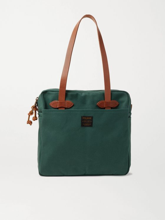 Filson Leather-Trimmed Cotton-Twill Briefcase