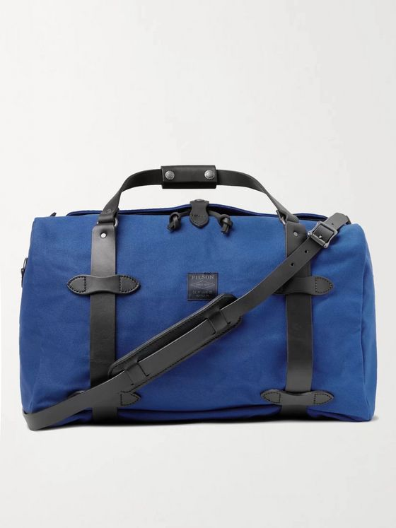 FILSON Leather-Trimmed Cotton-Twill Duffle Bag