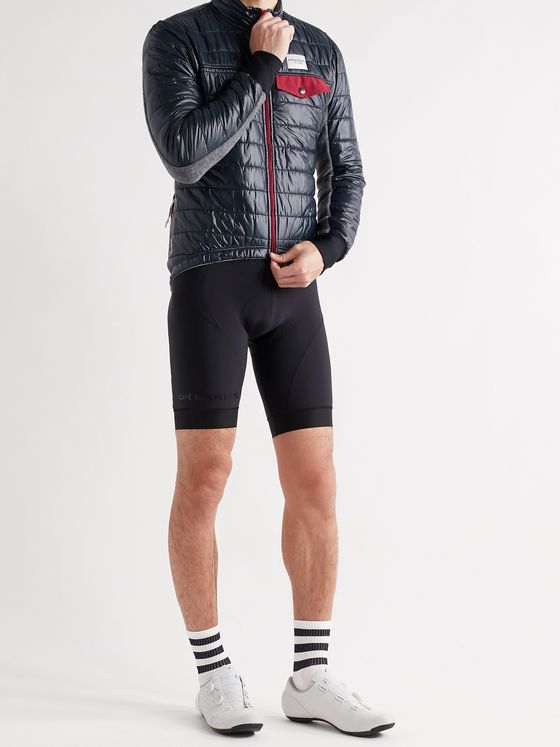 Cafe du Cycliste Albertine Slim-Fit Fleece-Panelled Quilted Padded Shell Cycling Jacket