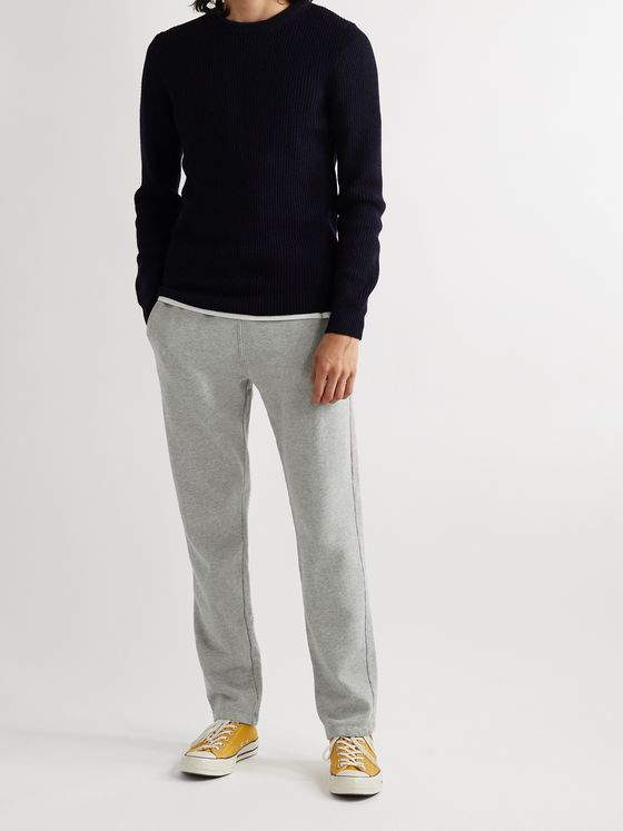 Save Khaki United Slim-Fit Mélange Fleece-Back Cotton-Jersey Sweatpants