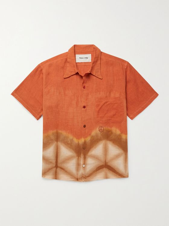 STORY MFG. Shore Embroidered Tie-Dyed Organic Linen Shirt
