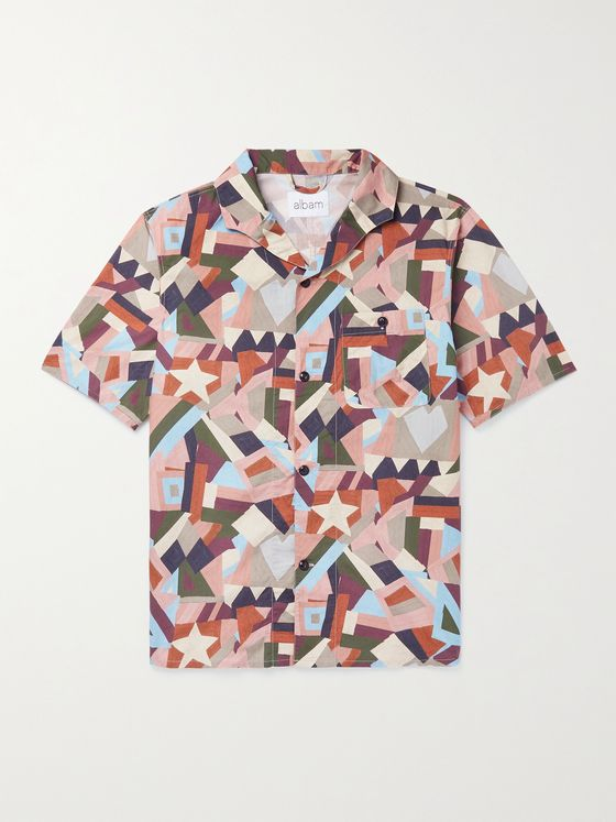Albam Miles Camp-Collar Printed Cotton Shirt