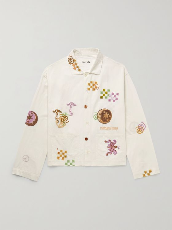 STORY MFG. Short On Time Embroidered Printed Organic Cotton Overshirt