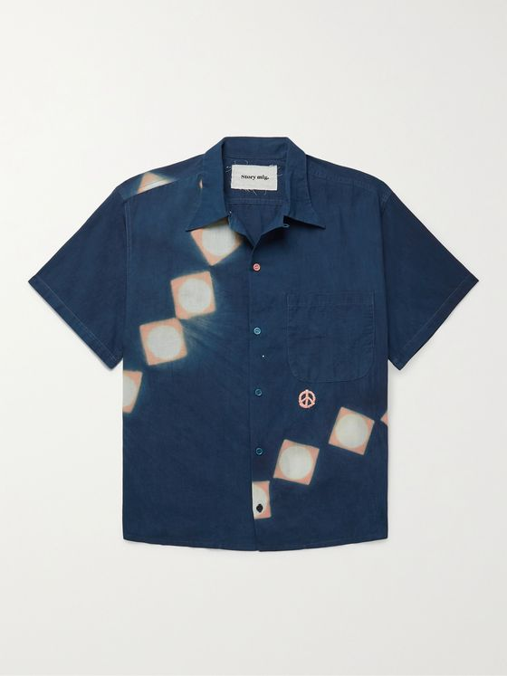 STORY MFG. Shore Embroidered Printed Organic Cotton Shirt