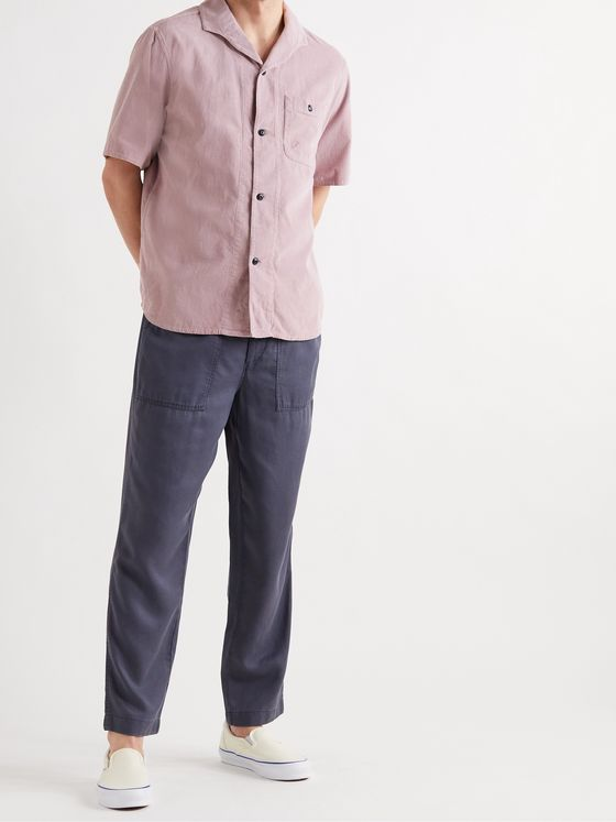 Albam Miles Camp-Collar Cotton-Needlecord Shirt