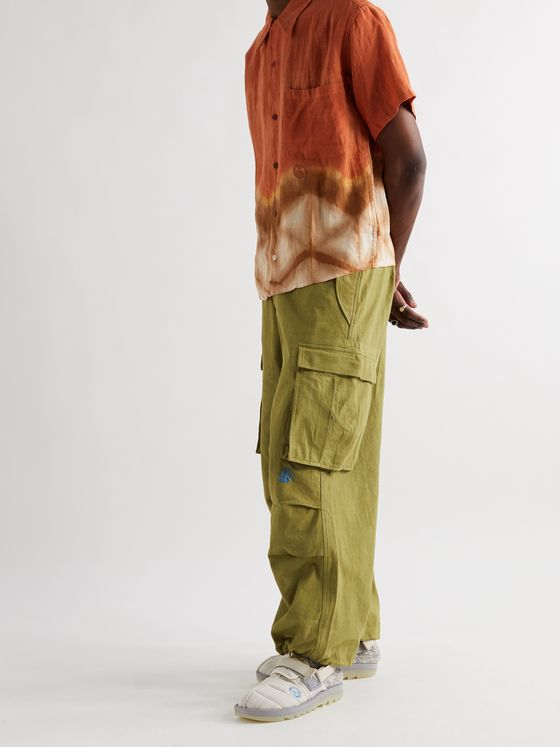 STORY MFG. Peace Wide-Leg Organic Cotton Drawstring Cargo Trousers
