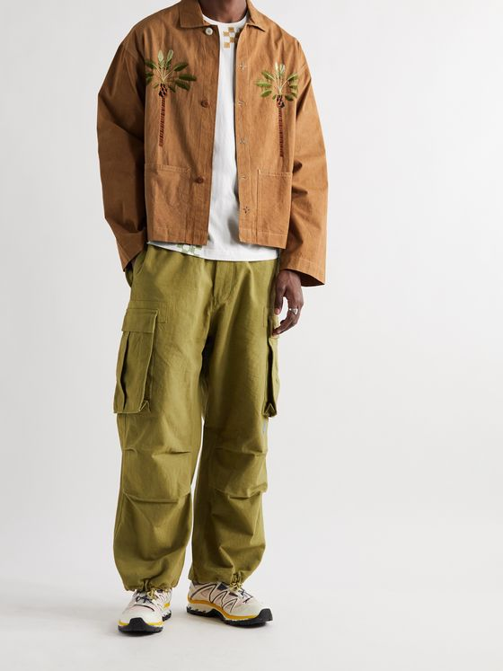 STORY MFG. Short On Time Embroidered Organic Cotton-Twill Jacket