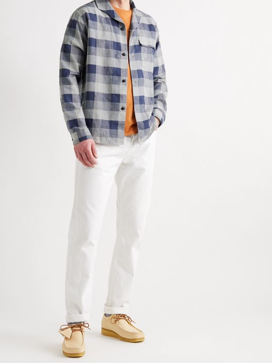 Albam Miles Camp-Collar Checked Cotton-Blend Shirt