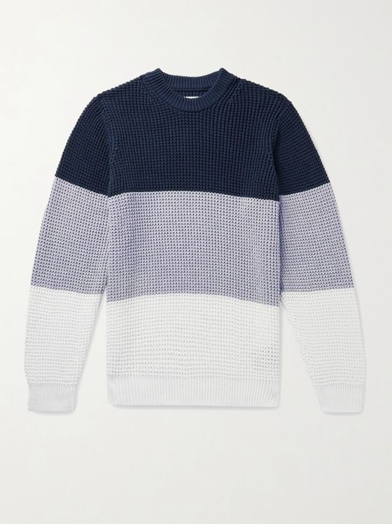 Albam Colour-Block Waffle-Knit Cotton Sweater
