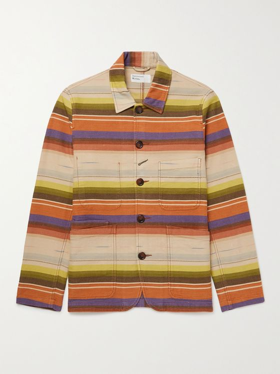UNIVERSAL WORKS Striped Cotton Shirt Jacket