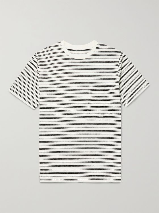 UNIVERSAL WORKS Striped Organic Cotton-Terry T-Shirt