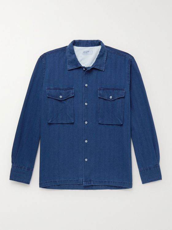 UNIVERSAL WORKS Treck Washed Herringbone Cotton Shirt