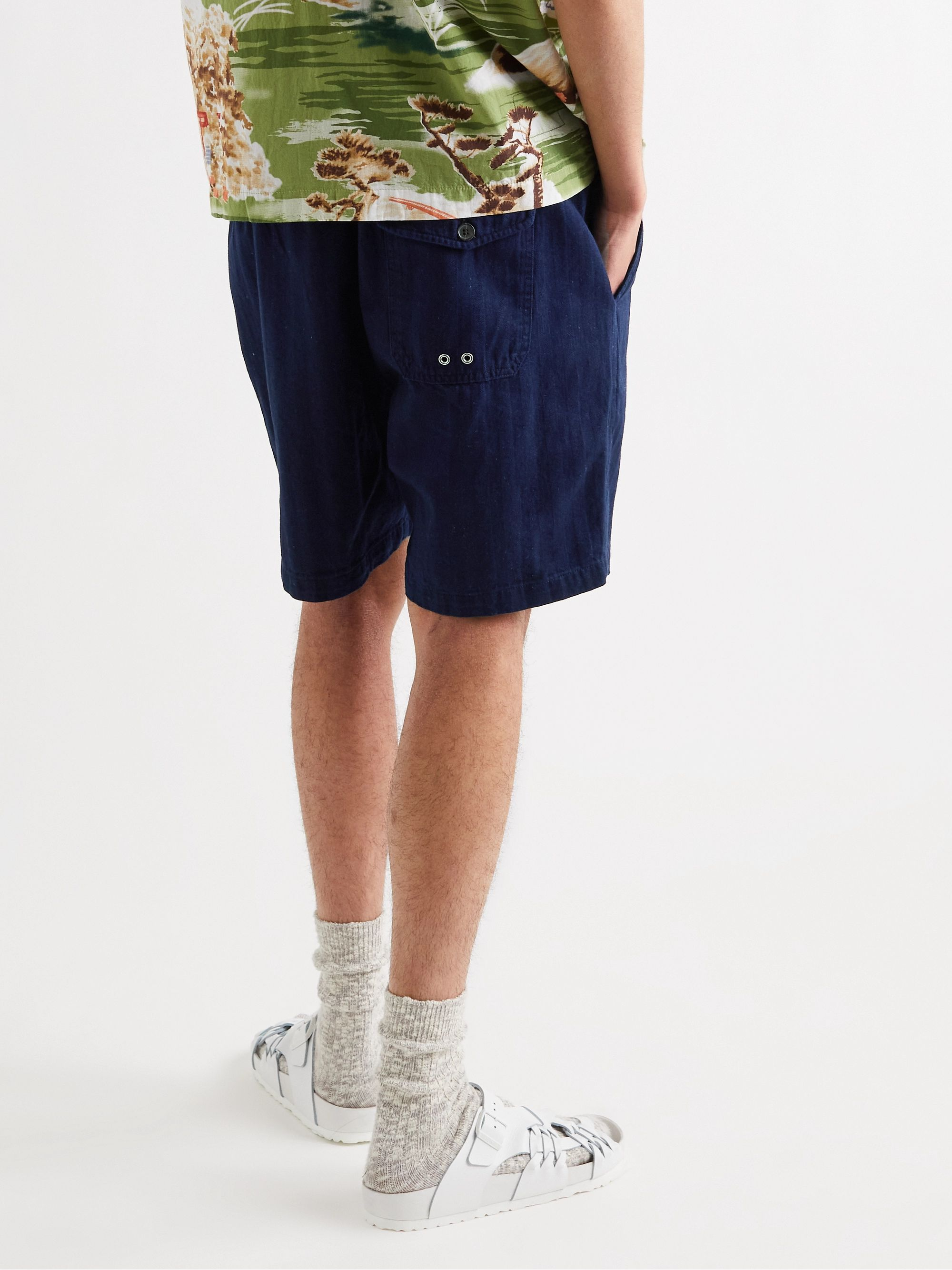 UNIVERSAL WORKS Indigo-Dyed Herringbone Denim Drawstring Shorts