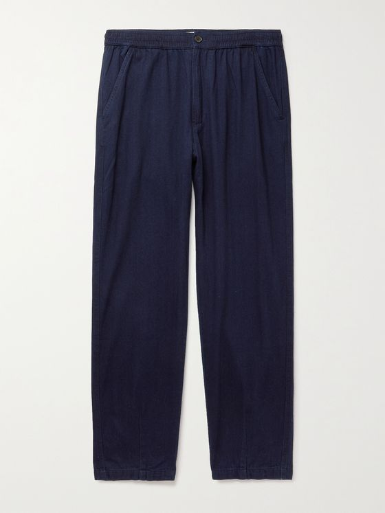UNIVERSAL WORKS Indigo-Dyed Herringbone Denim Trousers